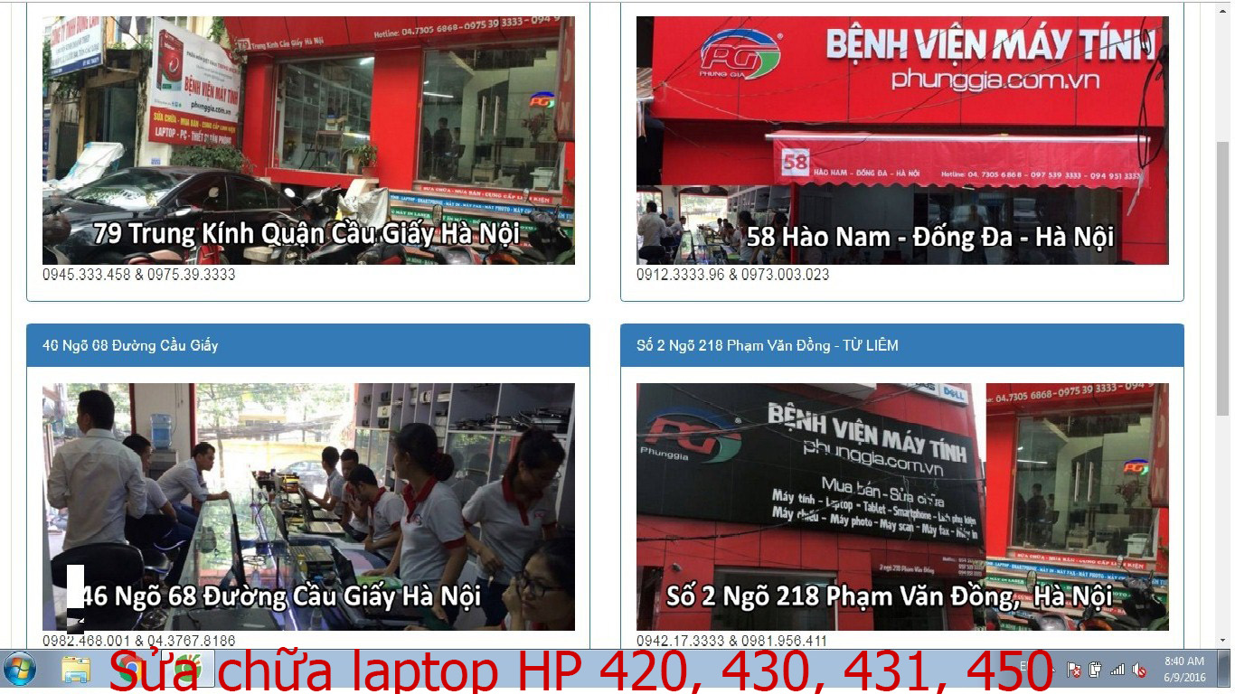 sửa chữa laptop HP 420, 430, 431, 450