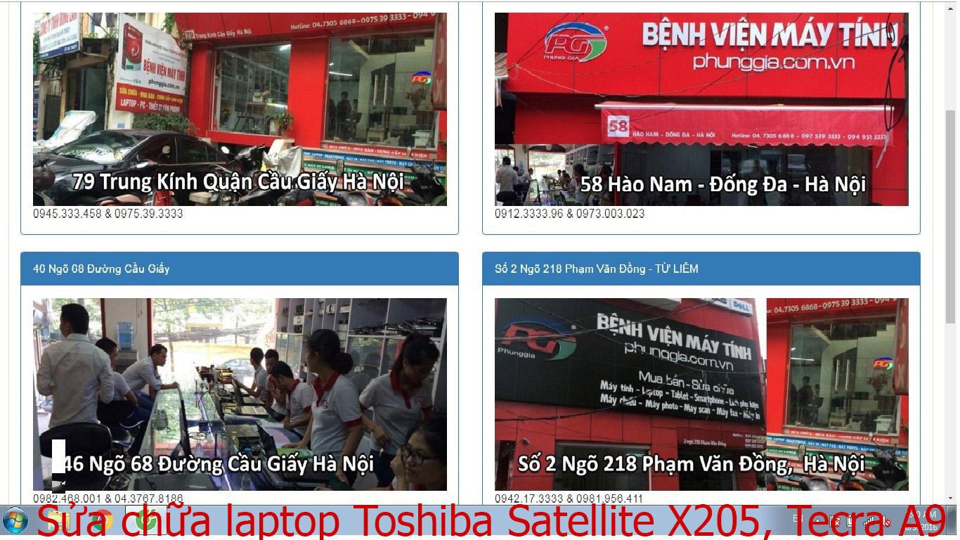sửa chữa laptop Toshiba Satellite X205, Tecra A9, M8, M9